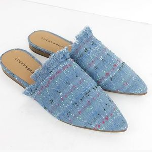 Lucky Brand Bapsee Mule Slides Light Blue Denim